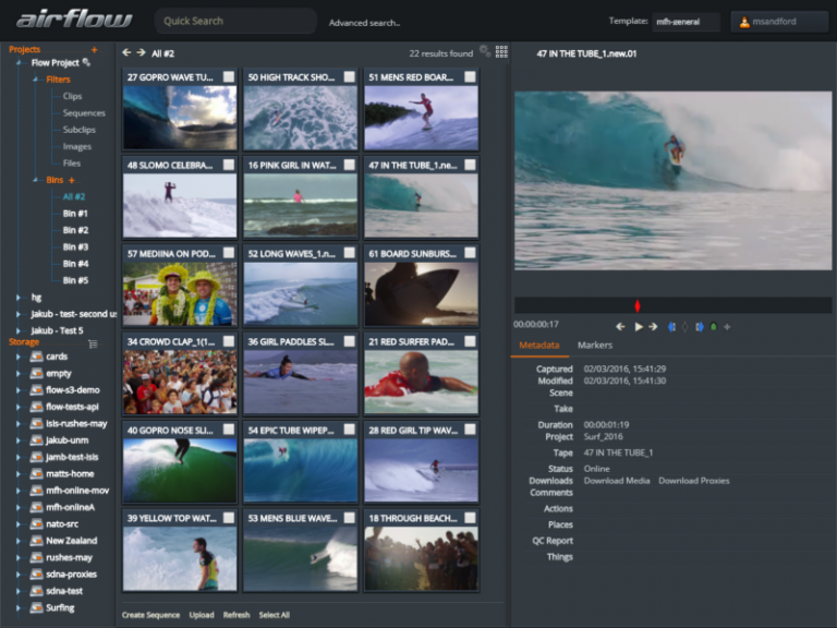 Airflow - EditShare's browser based application for logging and organising media content
