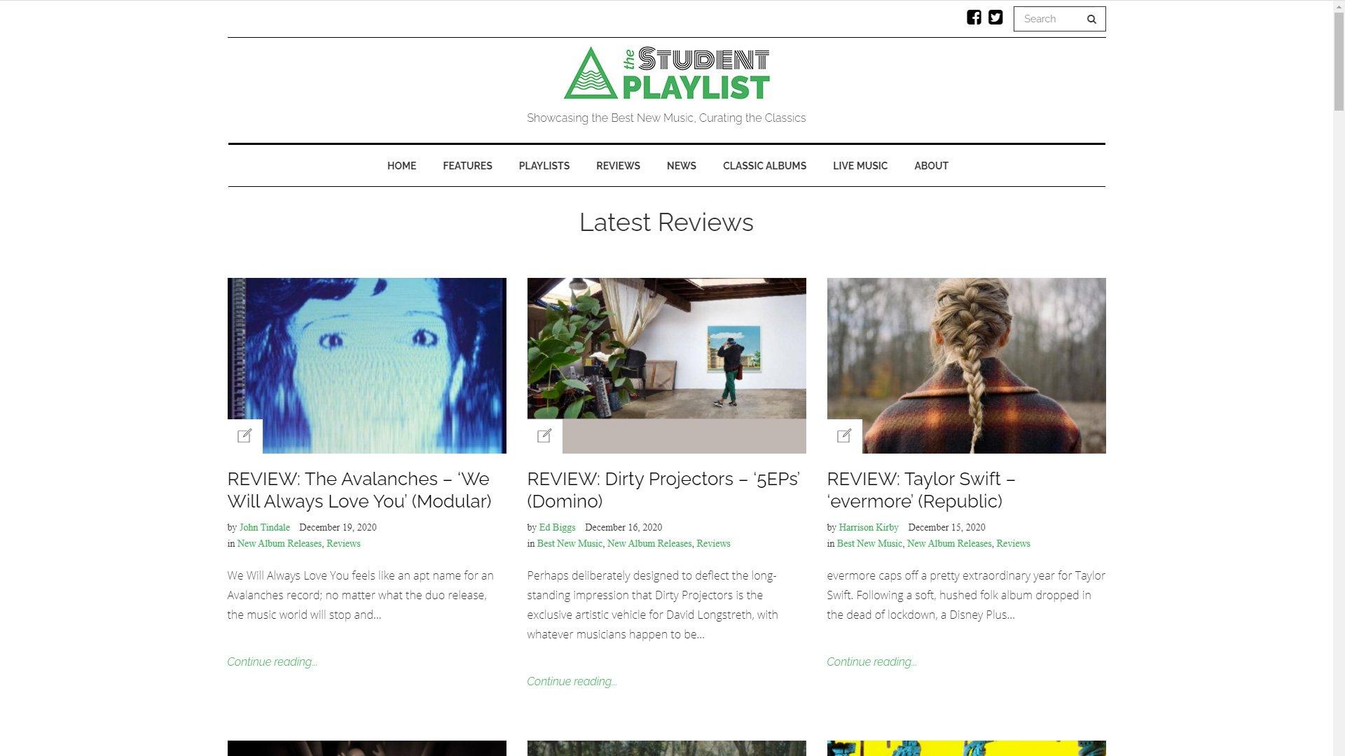 the-student-playlist website